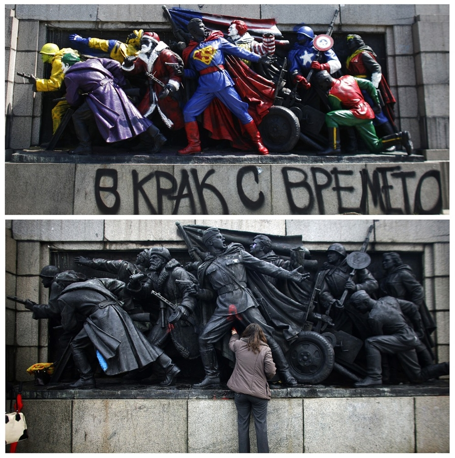 "A combination picture shows the figures of Soviet soldiers at the base of the Soviet Army monument, painted by an unknown artist, in Sofia on June 17 and a member of the Bulgarian Socialist Party's youth organisation cleaning the same figures of the monument February 18, 2010. The figures have been painted to resemble U.S. comic book heroes and characters from popular culture like Santa Claus and Ronald McDonald, the mascot of fast-food chain giant McDonald's. The inscription below them reads: ""Moving with the times""."