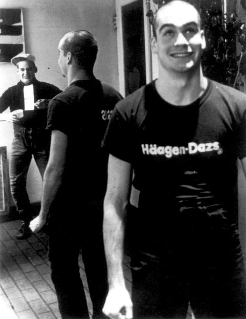 youngmanhattanite :      andrewtsks :     Henry Rollins working at Haagen Dazs, Washington DC, 1981. At left, reflected in the mirror, is Ian MacKaye. (I was reminded of this pic by  Henry's column in the LA Weekly this week .)