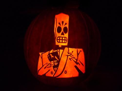 jessfink :        philibuster :    applebigwheels :     Fantastic Grim Fandango pumpkin  via Kotaku