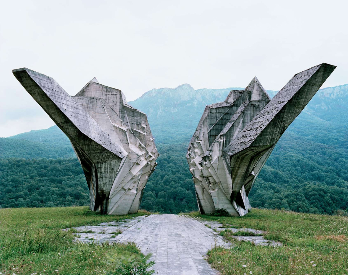 "These structures were commissioned by former Yugoslavian president Josip Broz Tito in the 1960s and 70s to commemorate sites where WWII battles took place (like Tjentište, Kozara and Kadinjača), or where concentration camps stood (like Jasenovac and Niš). They were designed by different sculptors (Dušan Džamonja, Vojin Bakić, Miodrag Živković, Jordan and Iskra Grabul, to name a few) and architects (Bogdan Bogdanović, Gradimir Medaković…), conveying powerful visual impact to show the confidence and strength of the Socialist Republic. In the 1980s, these monuments attracted millions of visitors per year, especially young pioneers for their ""patriotic education."" After the Republic dissolved in early 1990s, they were completely abandoned, and their symbolic meanings were forever lost."