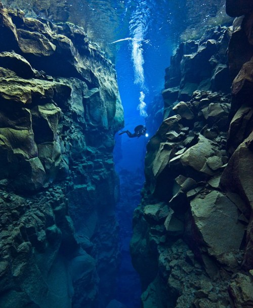 Silfra rift in Iceland - Tectonic Plate Gap Between Europe and America