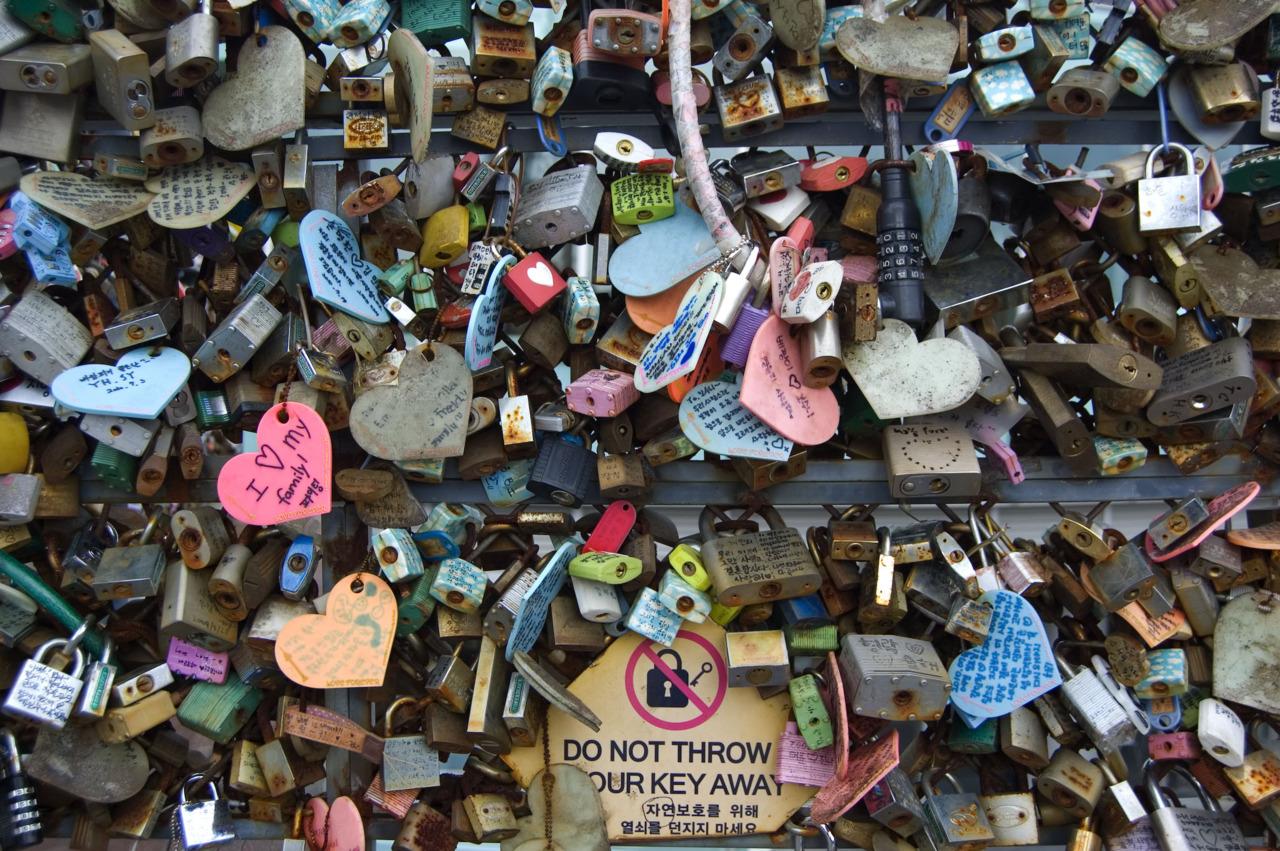 Love padlocks are a custom by which sweethearts affix padlocks to a fence or similar public fixture to symbolize their love. Most common place of Love padlocks are railings of the bridges. It is suggested that the custom of 'locking a padlock and throwing away the key' probably originated in China.