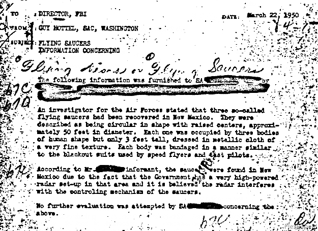 Guy Hottel was a Special Agent in Charge of the FBI's Washington Field Office. The information concerning Mr. Hottel is in regard to a March 22, 1950, memo he sent to the Director concerning flying saucers.