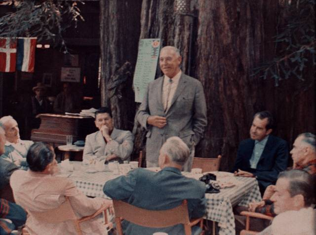 Bohemian Grove, 1967     The Bohemian Grove, that I attend from time to time—the Easterners and the others come there—but it is the most faggy goddamn thing you could ever imagine, that San Francisco crowd that goes in there; it's just terrible! I mean I won't shake hands with anybody from San Francisco.  —President  Richard M. Nixon  on the  Watergate tapes , Bohemian Club member starting in 1953.