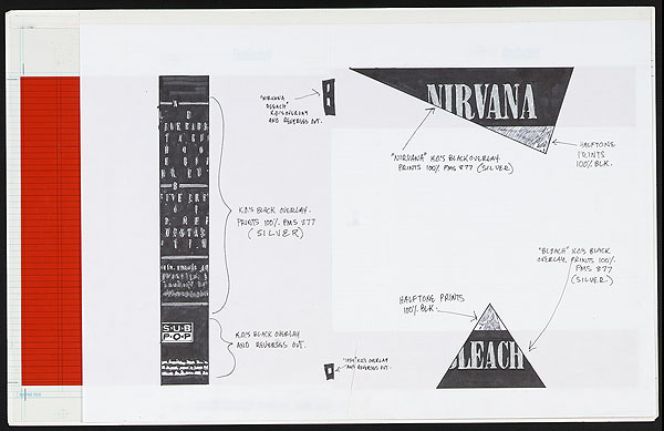 The album cover layout for Bleach, where typesetter Grant Alden accidentally created Nirvana's logo by laying out their name with the Onyx typeface that just happened to be in the machine.