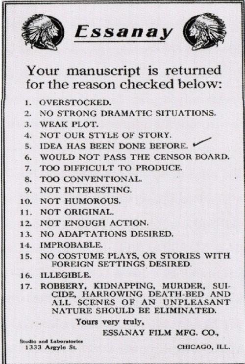 themeg :      Manuscript Rejection Notice from 1920s-Era Movie Studio