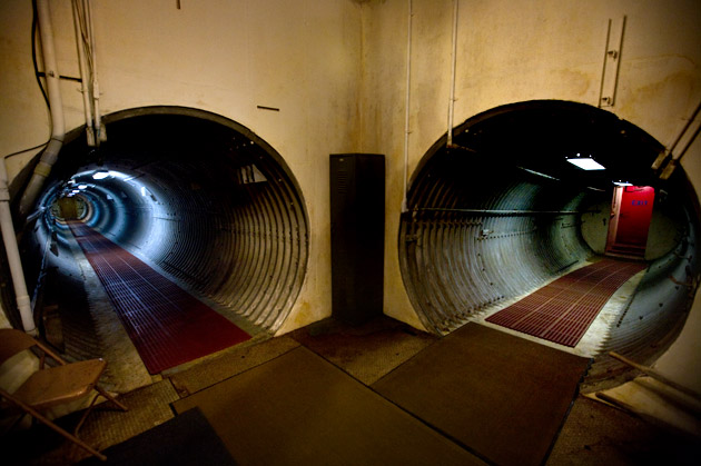 Ed Peden's tunnels lead to his living space, on the left, and into his cavernous garage, on the right.