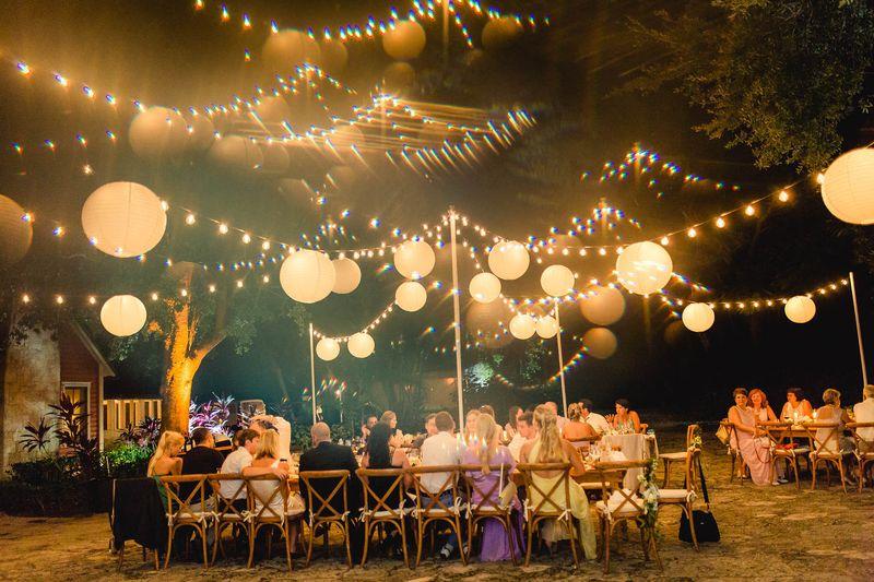 Bistro Lighting Rustic Garden Wedding