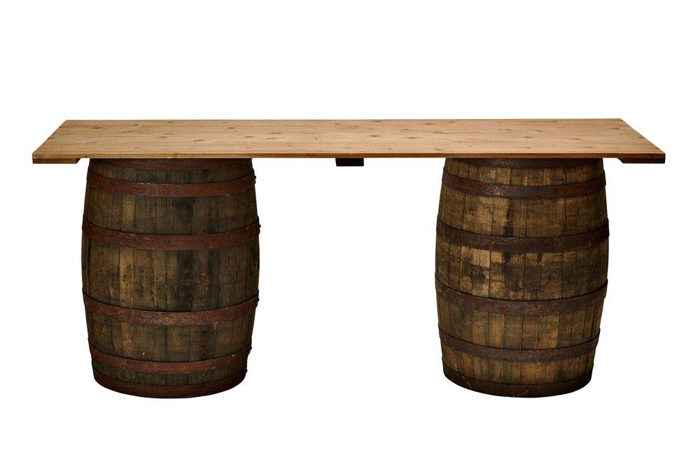 Rustic Oak Barrel Table