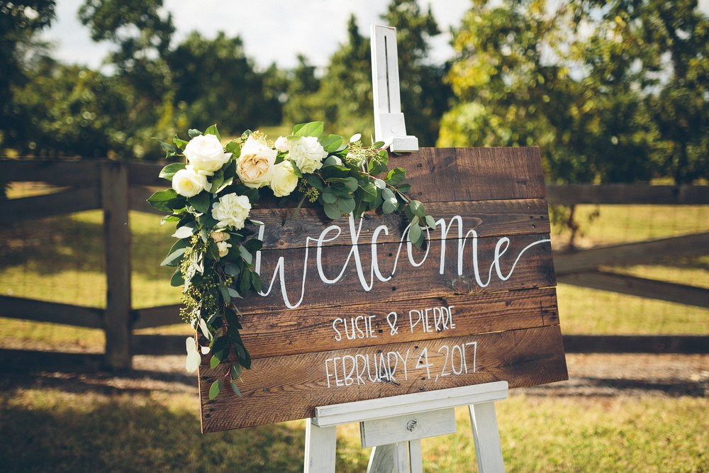 Beautiful Farm Wedding Welcome Sign at Estancia Culinaria