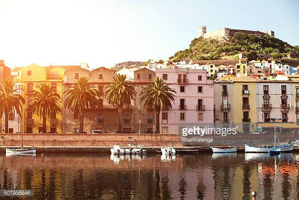 The town of Bosa and the old castle, Sardinia