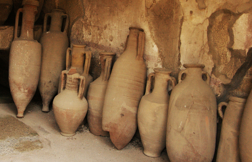 Amphorae leaning against a wall in Herculaneum.