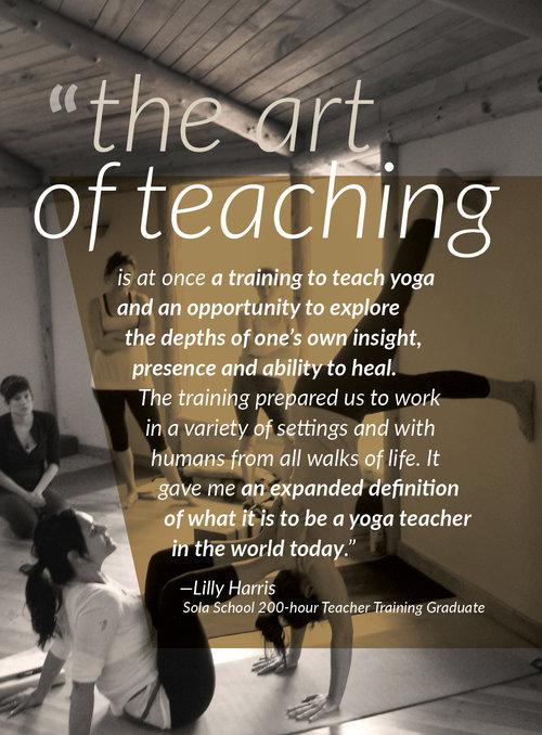 200 Hour Registered Yoga Teacher Training Sola School Of