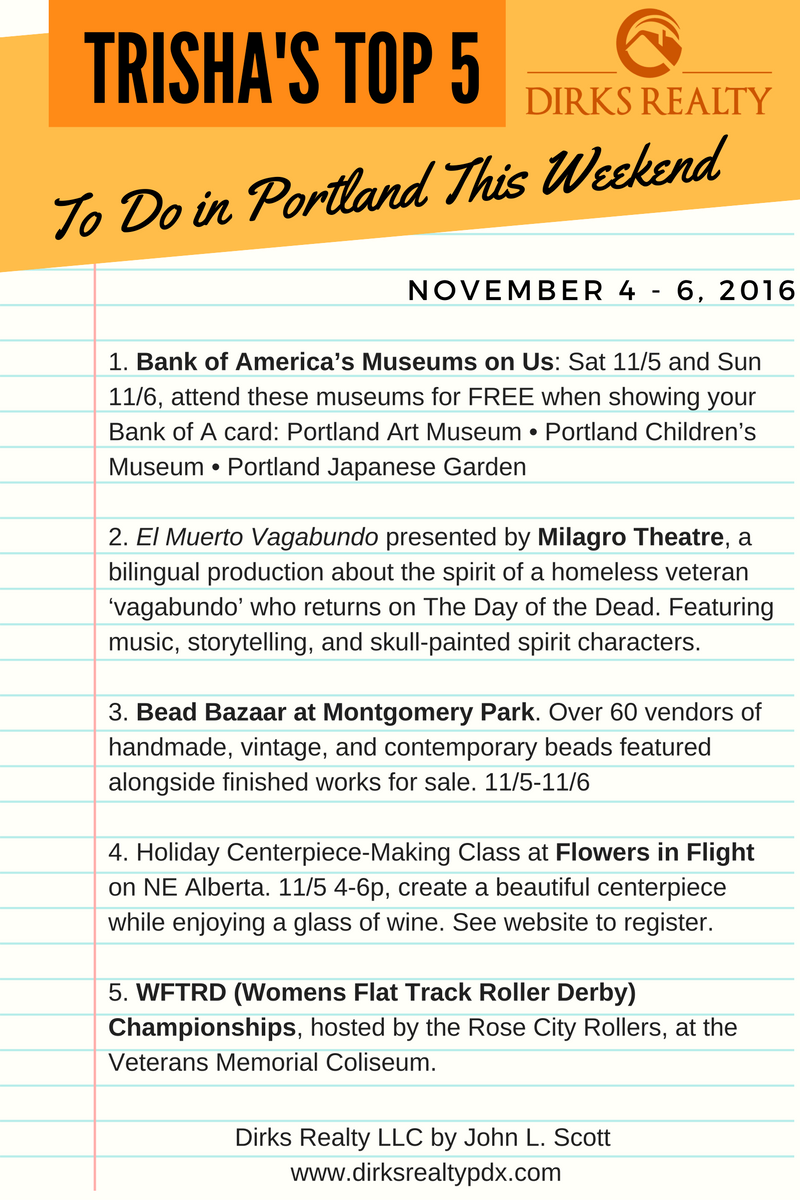 TODO IN PORTLAND THIS WEEKEND NOVEMBER    DIRKS REALTY - Museums on us bank of america 2016