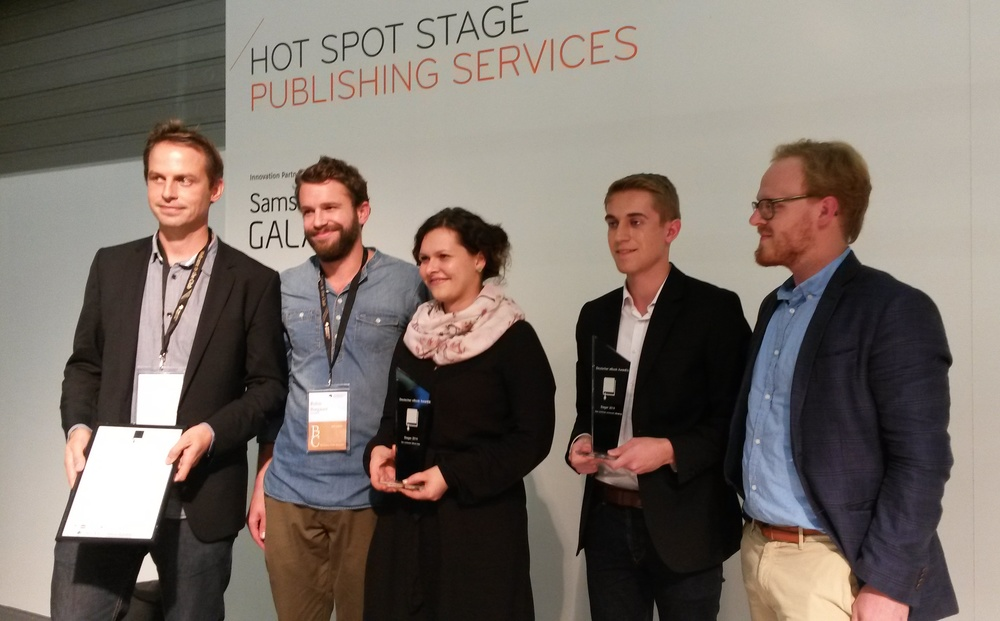 Winner of the first German eBook Award: Patrick M. Mueller, Robin Burgauer and Regina Huber of DOCMINE for Best eBook App; Andreas Conrad Huber (winner in category «Best enhanced eBook») and Robert Goldschmidt German eBook Award.