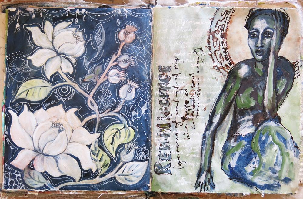 Reminiscent art journal page - Galia Alena