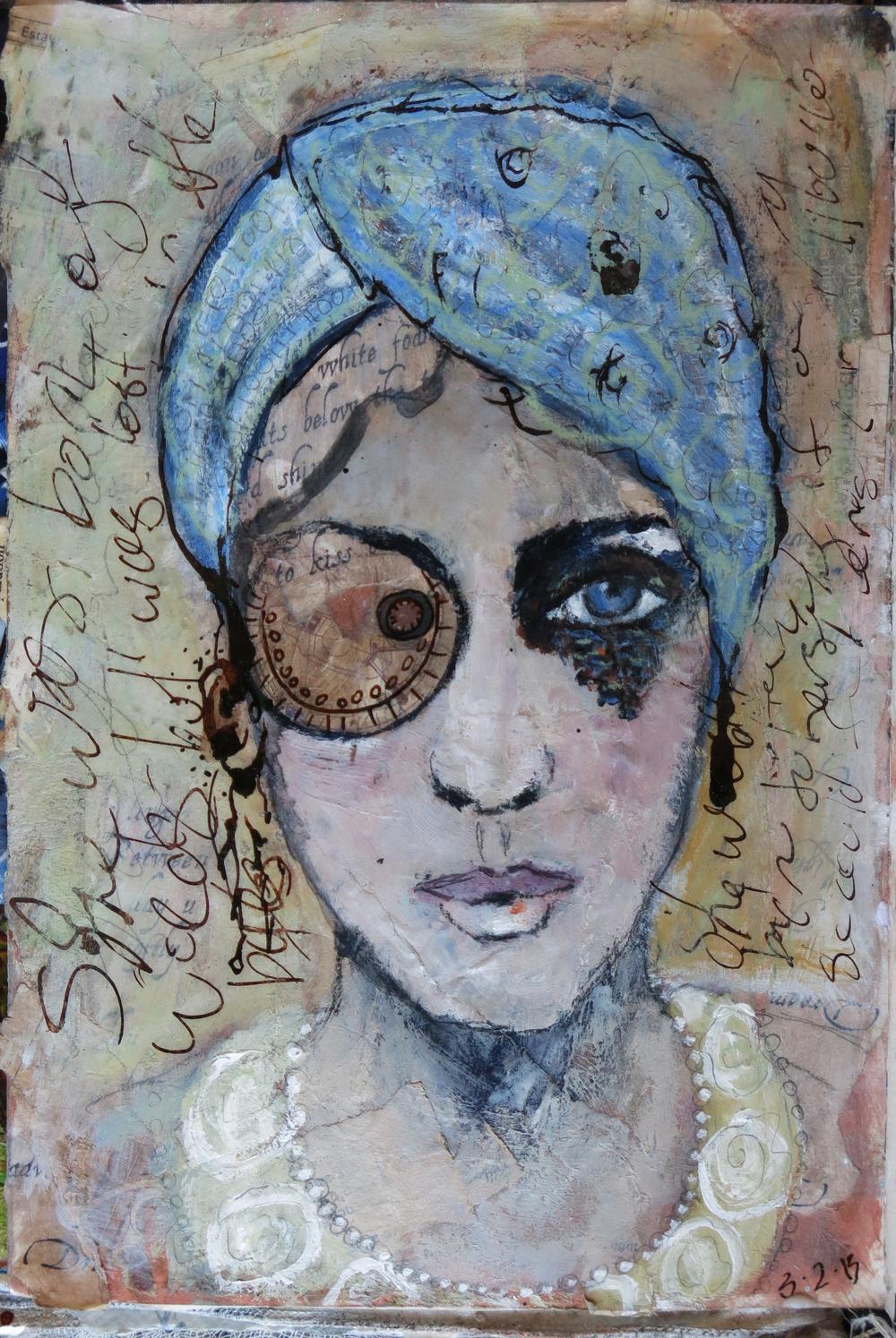 Cyber Girl mixed media art journal