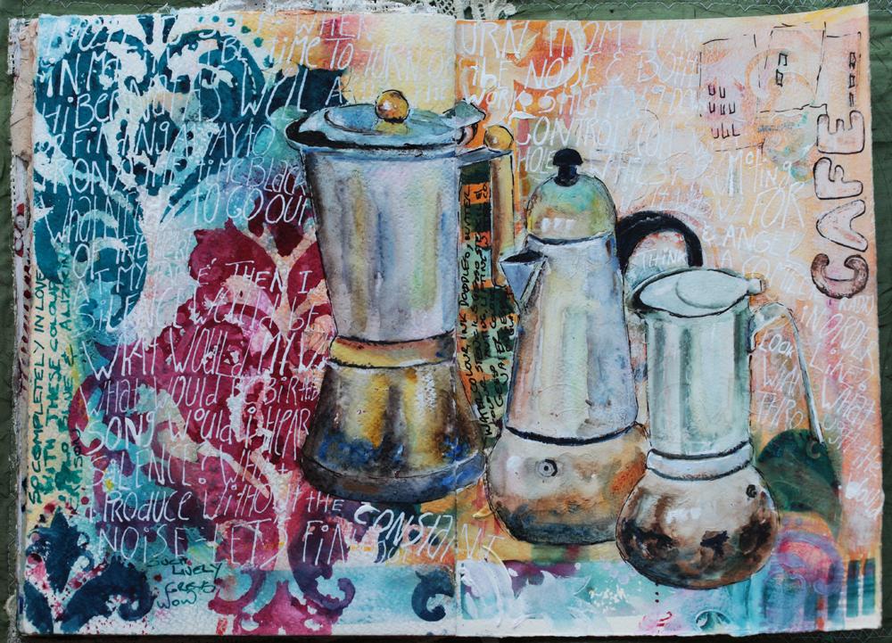 Coffee, mixed media art journal - Galia Alena