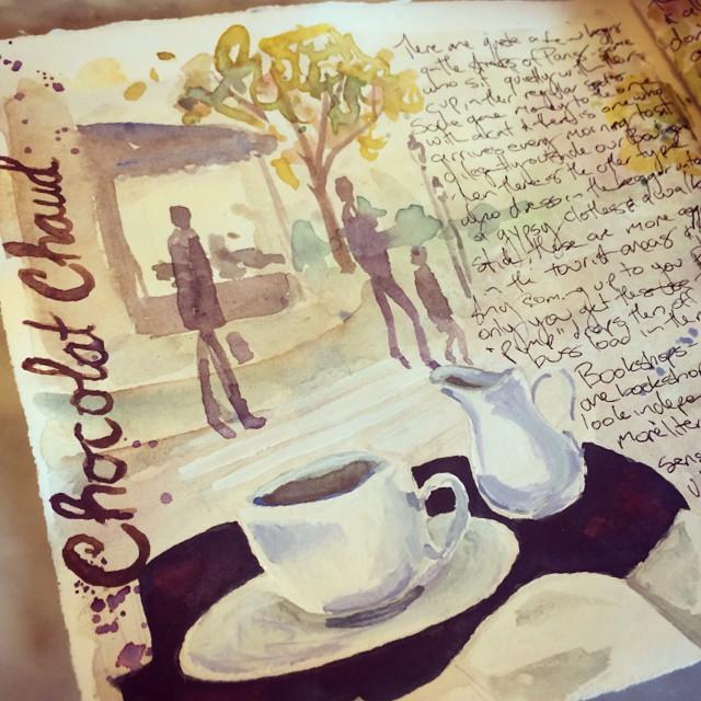 Cafe sketching in Paris, visual journal - Galia Alena
