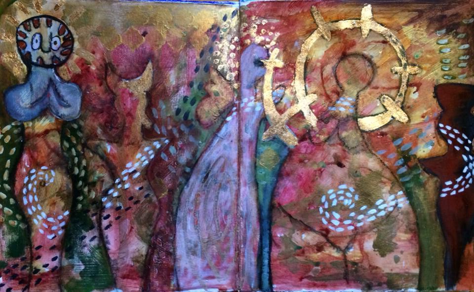 Spirits- art journal spread - Galia Alena
