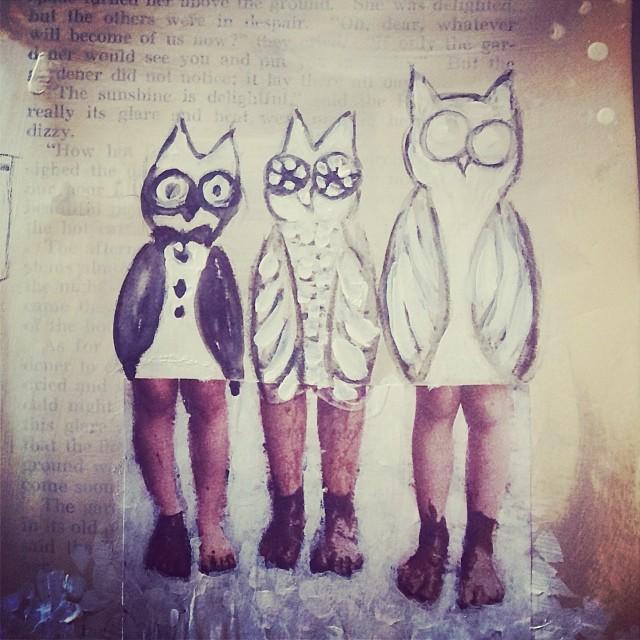 3 Wise Owls, art journal, mixed media  - Galia Alena