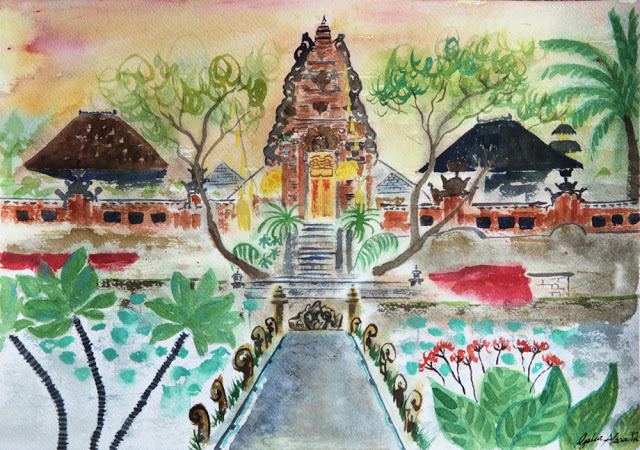 Galia Alena water colour painting, Travel Bali