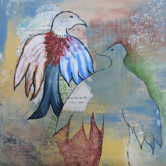Bird Spirits, Galia Alena, mixed media art acryllic pastels collage wax encaustic