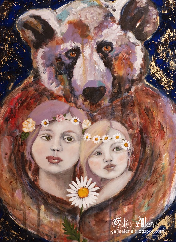Mama Bear mixed media painting Galia Alena