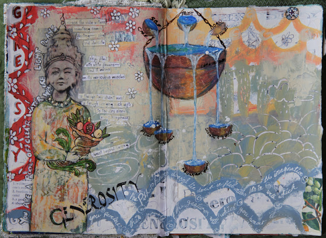 art jouranaling, journal as sacred vessel, one little word, word of the year, Galia Alena, mixed media