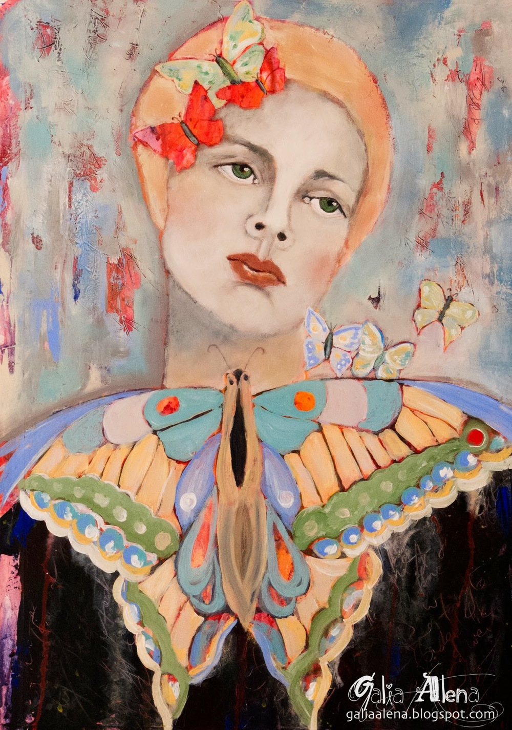 Butterfly Song- Galia Alena painting, butterfly medicine and throat chakra