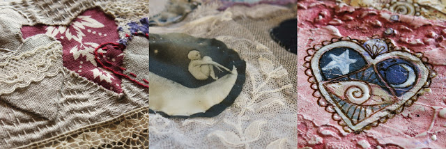 Of the Heart e-course workshop. Galia Alena mixed media hearts journal