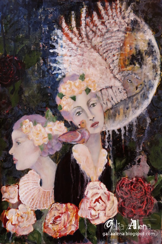 The Night Dreams of You, Galia Alena, mixed media painting