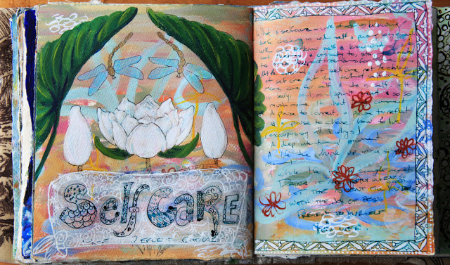 Mixed media art journal pages by Galia Alena Self care