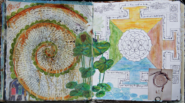 Mixed media art journal pages by Galia Alena, mandalas
