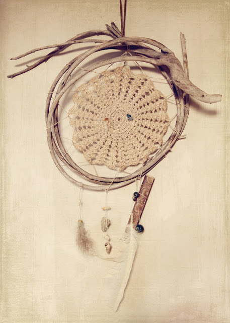 dream catcher, feathers, crystals, driftwood, full moon