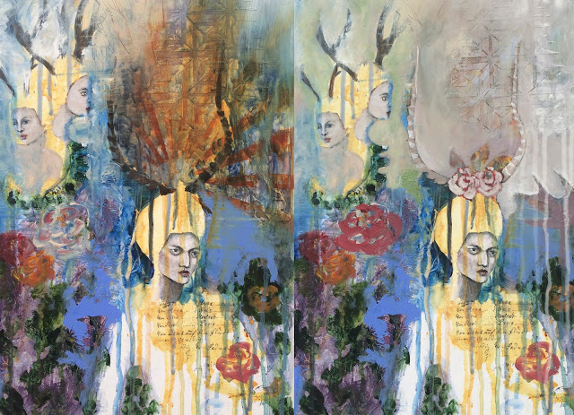 WIP- Through the Thinning Veils, Galia Alena, mixed media painting