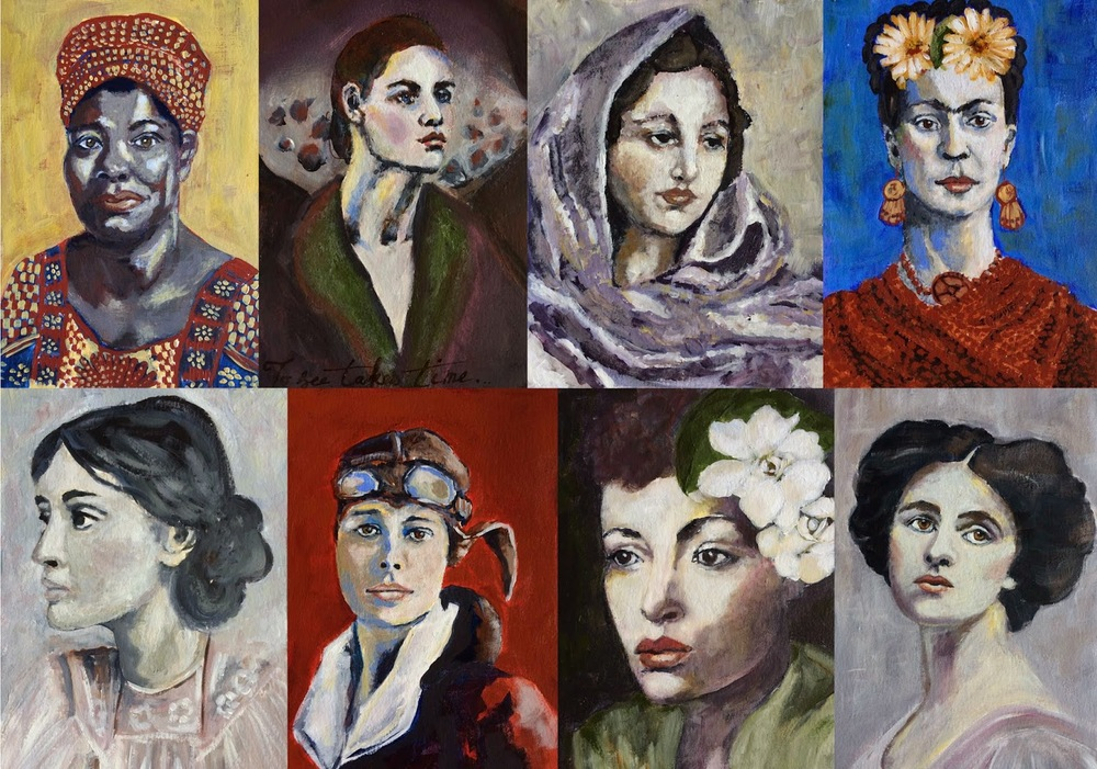 Frida Kahlo, Maya Angelo, Virginia Woolfe, Dorothy Parker, Anais Nin, Georgia O'Keefe, Billie Holiday Painting Galia Alena