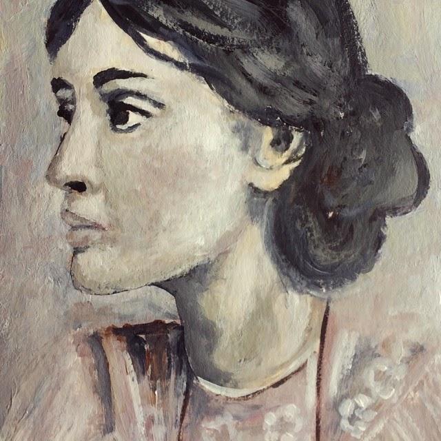 Virginia Woolfe, Mixed Media Painting Galia Alena