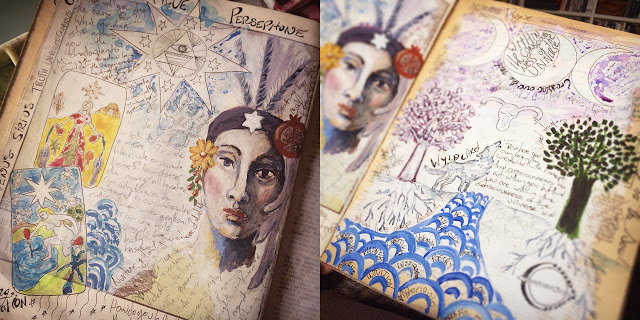 Galia Alena, tarot journal, mixed media star moon