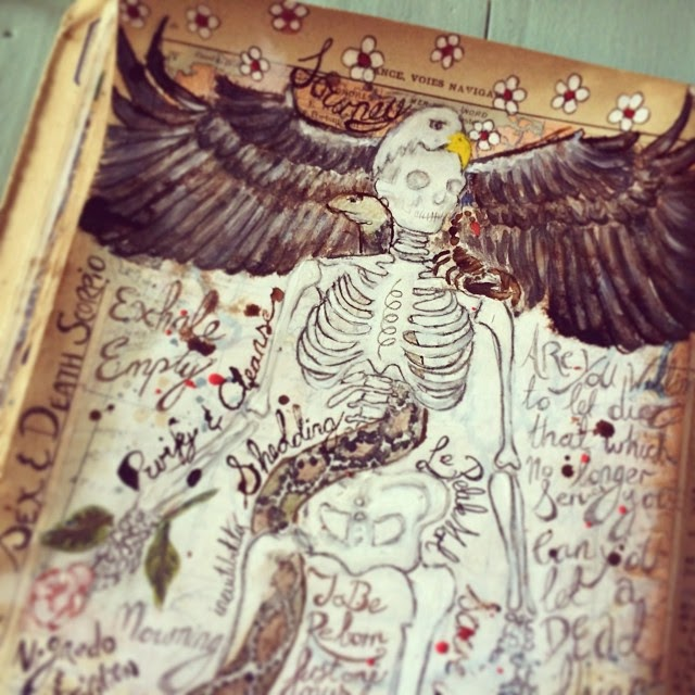 Galia Alena, tarot journal, mixed media the Death Card