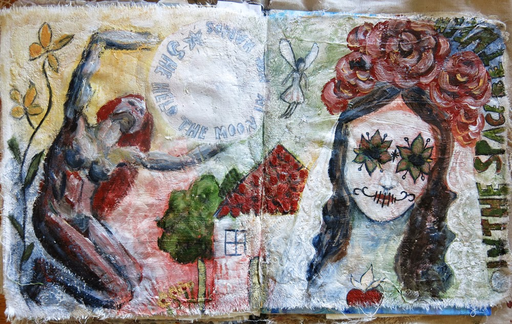 Mixed media art journal pages by Galia Alena- Day of the Dead