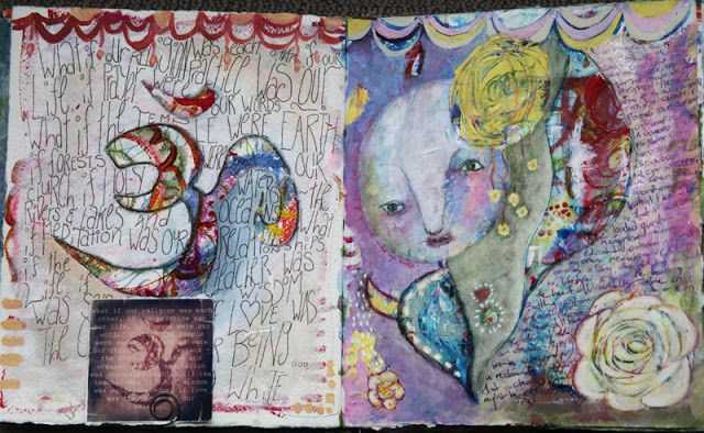 Mixed media art journal pages by Galia Alena