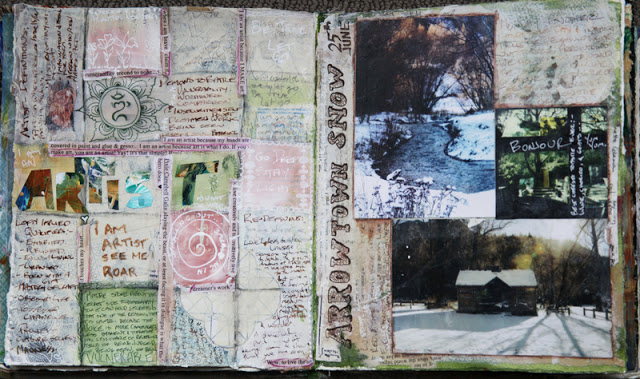 Mixed media art journal pages by Galia Alena,