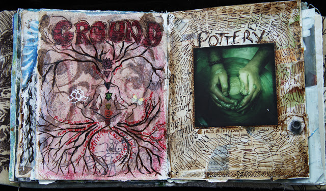 Mixed media art journal pages by Galia Alena, grounding