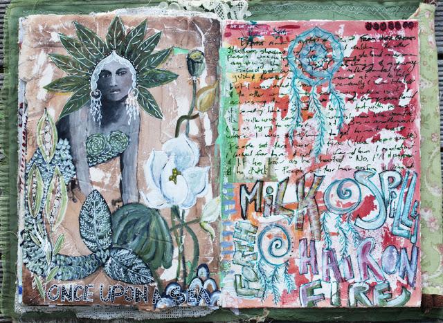 Art Journaling mixed media journal page Galia Alena