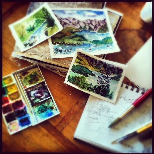 Travel journal, water colours, Galia Alena