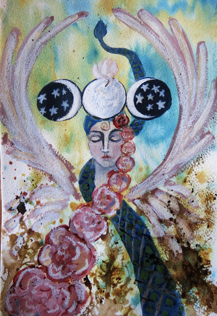 Galia Alena Of the Heart Moon Goddess mixed media journal
