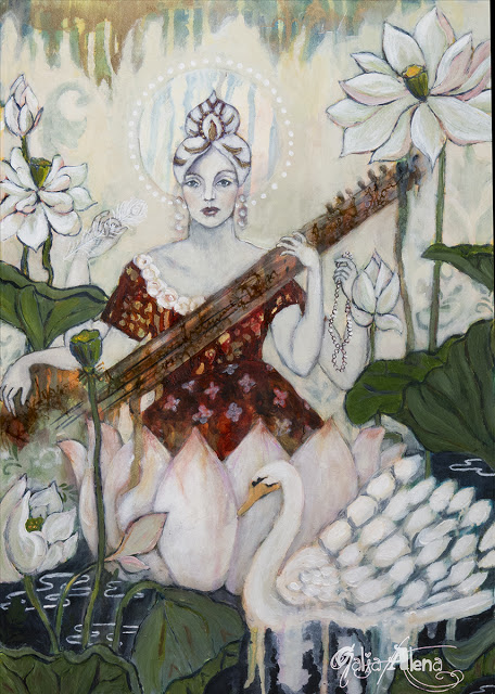 Galia Alena, Sarasavati mixed media painting