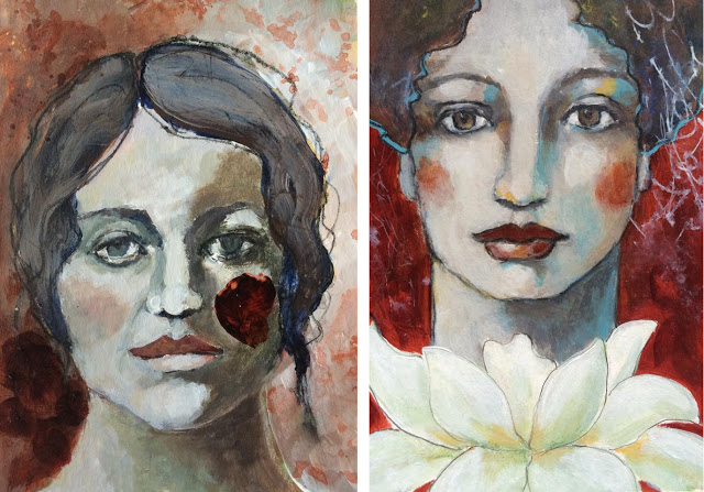 Galia Alena 30 Faces in 30 Days Challenge, mixed media portraits
