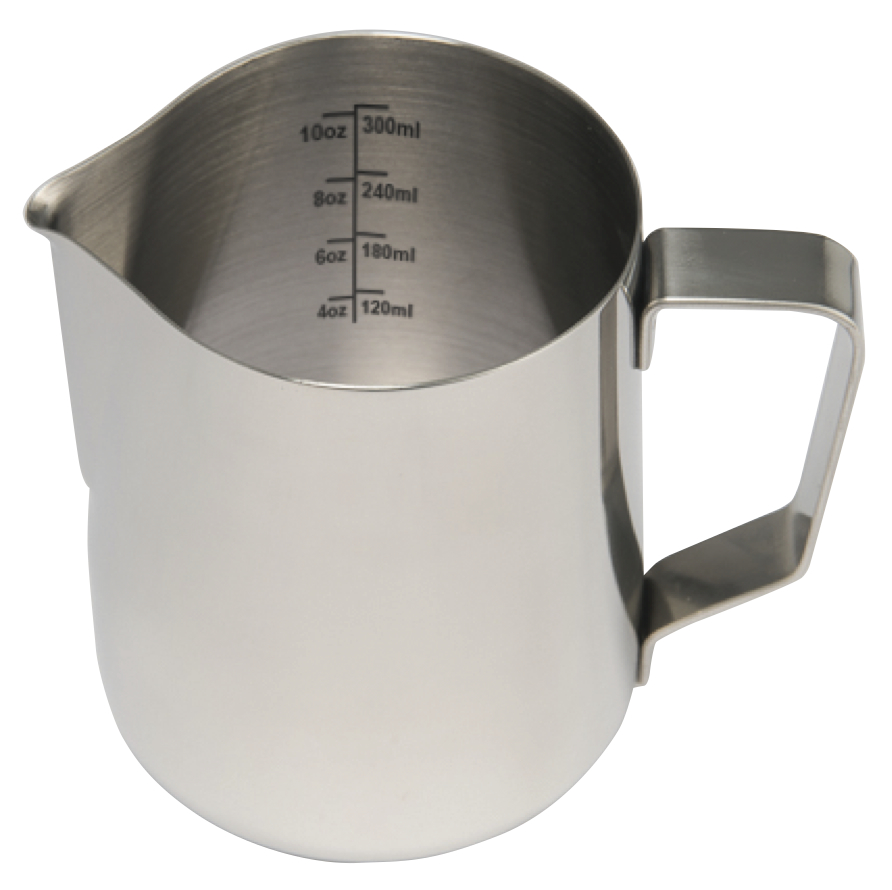 Stainless steel milk frother frothing pitcher with volume markings - 12 oz..jpg